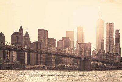 Manhattan o zachodzie słońca, sepia tonowania stosowane, Nowy Jork, USA.