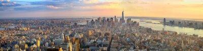 Obraz Manhattan panorama o zachodzie słońca z lotu ptaka, Nowy Jork, Stany Zjednoczone