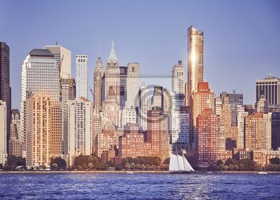 Manhattan przy zmierzchem, barwi stonowanego obrazek, Miasto Nowy Jork, usa.