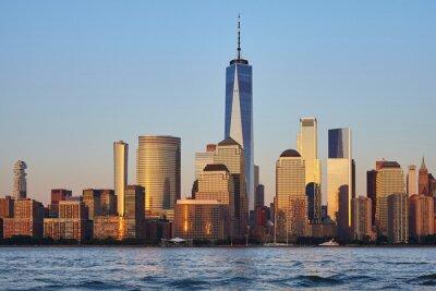 Manhattan skyline at sunset, New York City, USA.