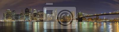Manhattan skyline w nocy, New York City obraz panoramiczny, USA