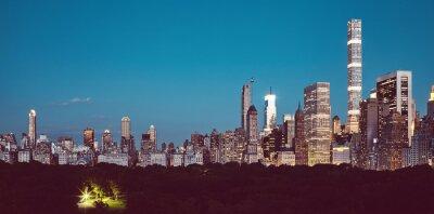 Obraz Manhattan Upper East Side over Central Park at dusk, color toning applied, New York City, USA.