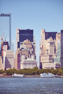 Manhattan waterfront diverse architecture, color toning applied, New York City, USA.