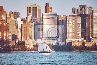 Manhattan widzieć od New Jersey przy zmierzchem, barwi stonowanego obrazek, Miasto Nowy Jork, usa.