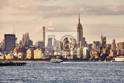 Manhattan widzieć od New Jersey przy zmierzchem, usa