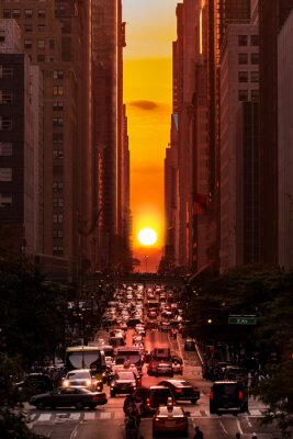Obraz Manhattanhenge w Nowym Jorku wzdłuż 42nd Street