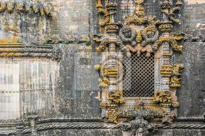 Manuelino okno w klasztorze Chrystusa, Tomar w Portugalii