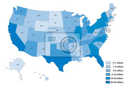 Obraz Map of the United States by population