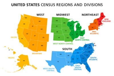Obraz Map of United States split into Census regions and divisions. Region definition, widely used for data collection and analysis. Most commonly used classification system. English. Illustration. Vector