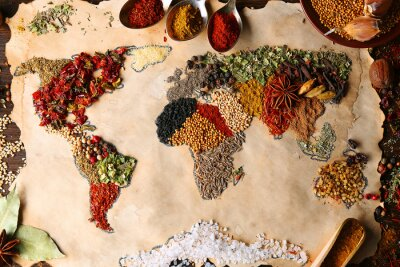 Obraz Map of world made from different kinds of spices, close-up