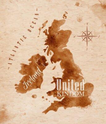 Obraz Map United kingdom and Scotland retro