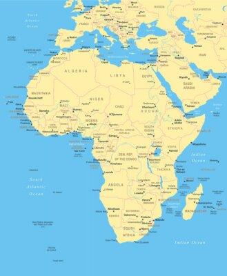 Obraz Mapa Afryka - bardzo szczegółowe ilustracji wektorowych.