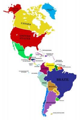 Obraz Mapa Ameryka Północna i Południowa
