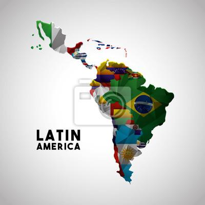 Obraz Mapa Ameryki Łacińskiej z flagami krajów. kolorowych wzorów. ilustracji wektorowych