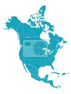 Obraz Mapa Ameryki Północnej