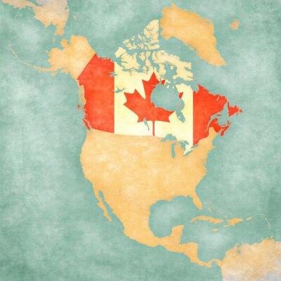 Obraz Mapa Ameryki Północnej - Kanada (Vintage Series)