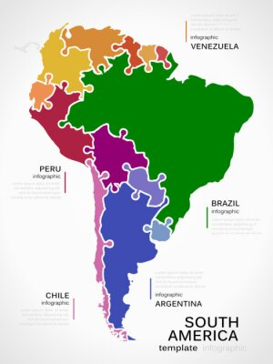 Obraz Mapa Ameryki Południowej