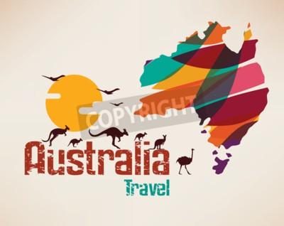Obraz Mapa Australii podróży, decrative symbol kontynentu Australii z skoków kangur silhouettes