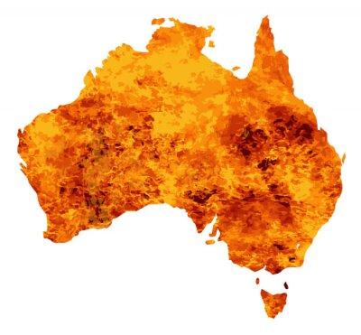 Obraz Mapa Australii z płomieniami tle