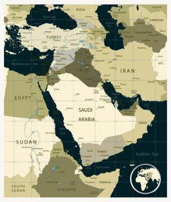Obraz Mapa Bliskiego Wschodu i Azji Camouflage kolory z Kwadrantach
