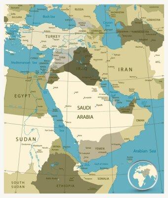 Obraz Mapa Bliskiego Wschodu i Azji. Kolory wojskowe