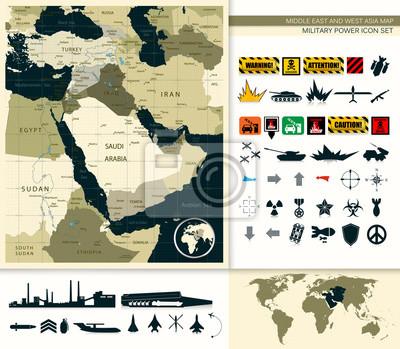 Mapa Bliskiego Wschodu i Azji o mocy Wojskowy zestaw ikon