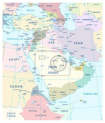 Mapa Bliskiego Wschodu i południowo-zachodniej Azji.