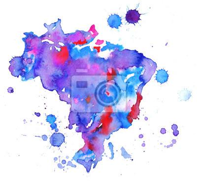 Obraz Mapa Brazylii. Kolorowe abstrakcyjne Akwarele tekstury plama z plamy i spatters. Nowoczesne tło twórczy akwarela modne wzornictwo.
