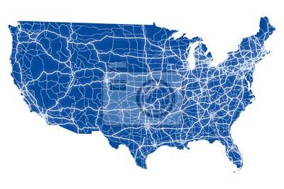 Obraz Mapa drogowa USA