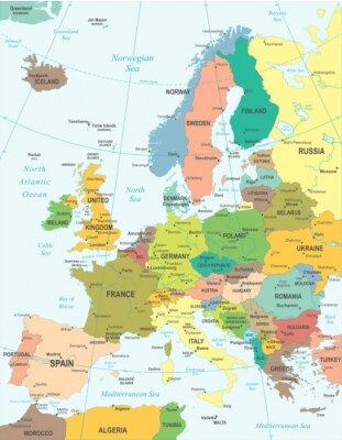 Obraz Mapa Europy - bardzo szczegółowe ilustracji wektorowych.