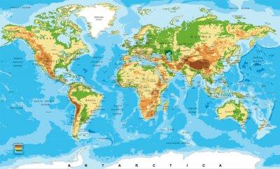 Obraz Mapa fizyczna świata