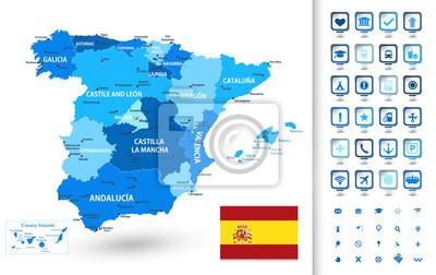 Mapa Hiszpanii z markerami