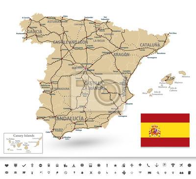 Mapa Hiszpanii z piktogramów markerów