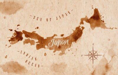 Obraz Mapa Japonia retro