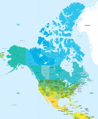 Obraz Mapa kolor USA i Kanadzie