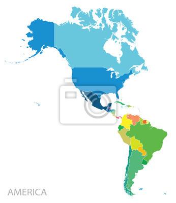 Obraz Mapa kontynencie Ameryki