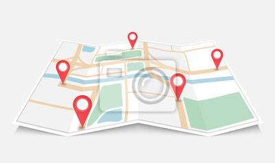 Obraz Mapa miasta papieru składane z czerwonym wskaźnikiem pin, ilustracji wektorowych