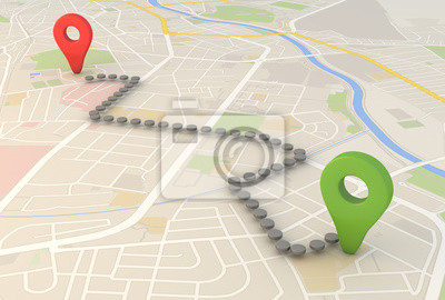 Obraz mapa miasta z Pin wskaźniki 3D renderowania obrazu
