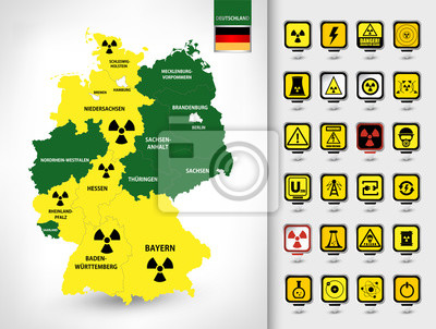 Mapa Niemiec. Zestaw elektrowni jądrowej
