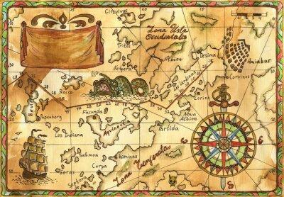 Obraz Mapa Pirate z różą wiatrów, statek i banner