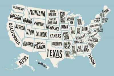 Obraz mapa Plakat Stanów Zjednoczonych ze stanu nazwy. Drukuj mapę USA dla koszulki, plakat lub tematów geograficznych. Ręcznie rysowane kolorową mapę ze stanami. Ilustracja wektorowa