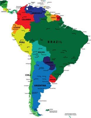 Obraz Mapa polityczna Ameryki Południowej vector