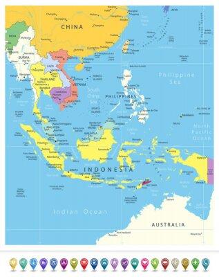 Mapa polityczna Azji Południowo-Wschodniej i ikony nawigacyjne