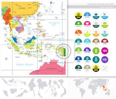 Mapa polityczna Azji Południowo-Wschodniej i płaski zestaw ikon