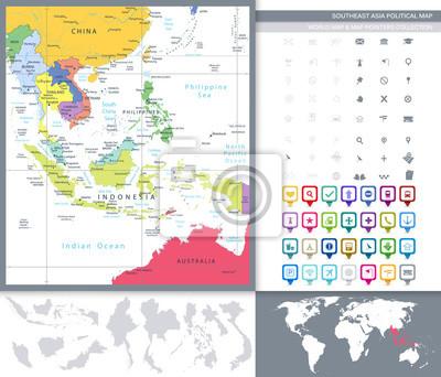 Mapa polityczna Azji Południowo-Wschodniej oraz Mapa Wskaźniki