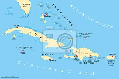 Obraz Karaiby Duze I Male Antyle Mapa Polityczna Na Wymiar