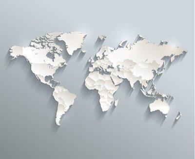 Obraz Mapa polityczna świata 3D wektorowe oddzielić poszczególne państwa