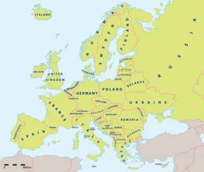 Obraz Mapa polityczna w Europie w 2015 roku w wytwórni i skali mapy. Nowe granice Ukrainy i Rosji na Krymie. Wszystkie dane są w warstwach na łatwe edytowanie map wektorowych.