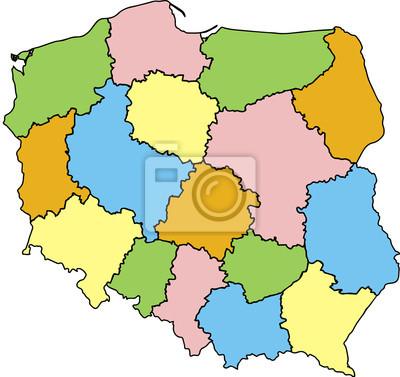 Obraz Mapa Polski Wojewodztwa Kolorowa Na Wymiar Wektor Kraj