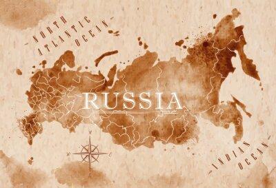 Obraz Mapa Rosja retro